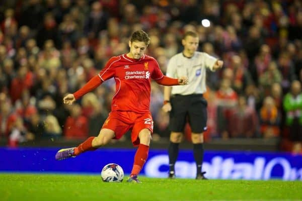 LIVERPOOL, ENGLAND - Tuesday, September 23, 2014: Liverpool's Adam Lallana scores the third penalty against Middlesbrough during the shoot-out during the Football League Cup 3rd Round match at Anfield. (Pic by David Rawcliffe/Propaganda)