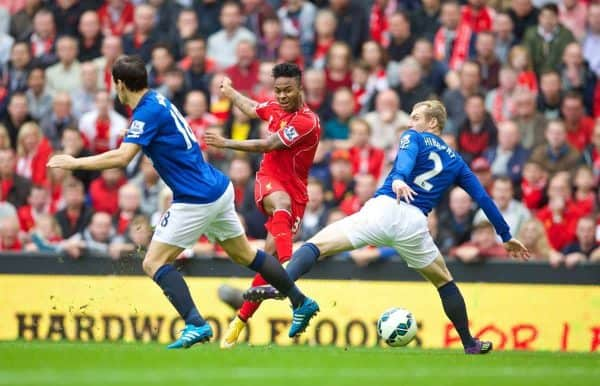 LIVERPOOL, ENGLAND - Friday, September 26, 2014: Liverpool's Raheem Sterling in action against Everton during the Premier League match at Anfield. (Pic by David Rawcliffe/Propaganda)