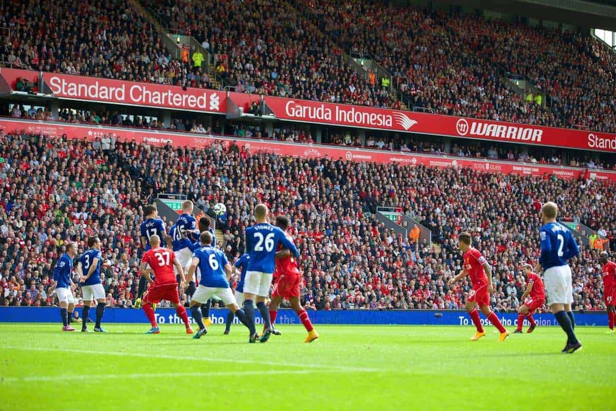 LIVERPOOL, ENGLAND - Friday, September 26, 2014: Liverpool's captain Steven Gerrard scores the first goal against Everton during the Premier League match at Anfield. (Pic by David Rawcliffe/Propaganda)