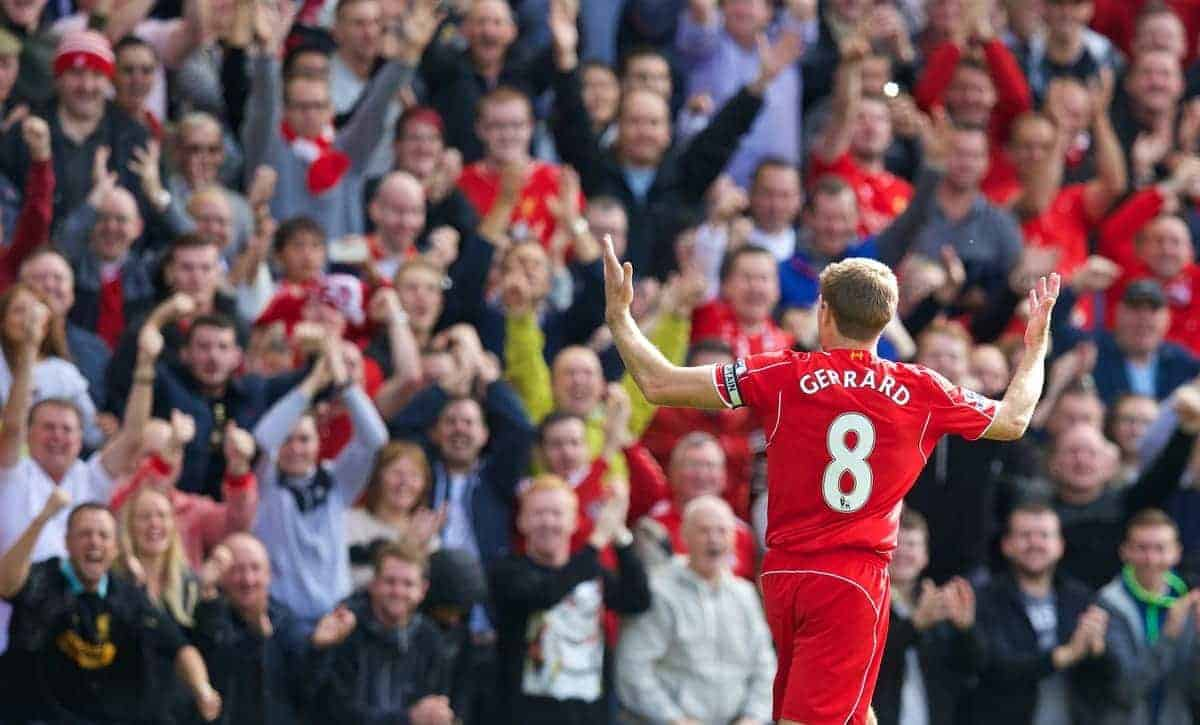 LIVERPOOL, ENGLAND - Friday, September 26, 2014: Liverpool's captain Steven Gerrard celebrates scoring the first goal against Everton during the Premier League match at Anfield. (Pic by David Rawcliffe/Propaganda)