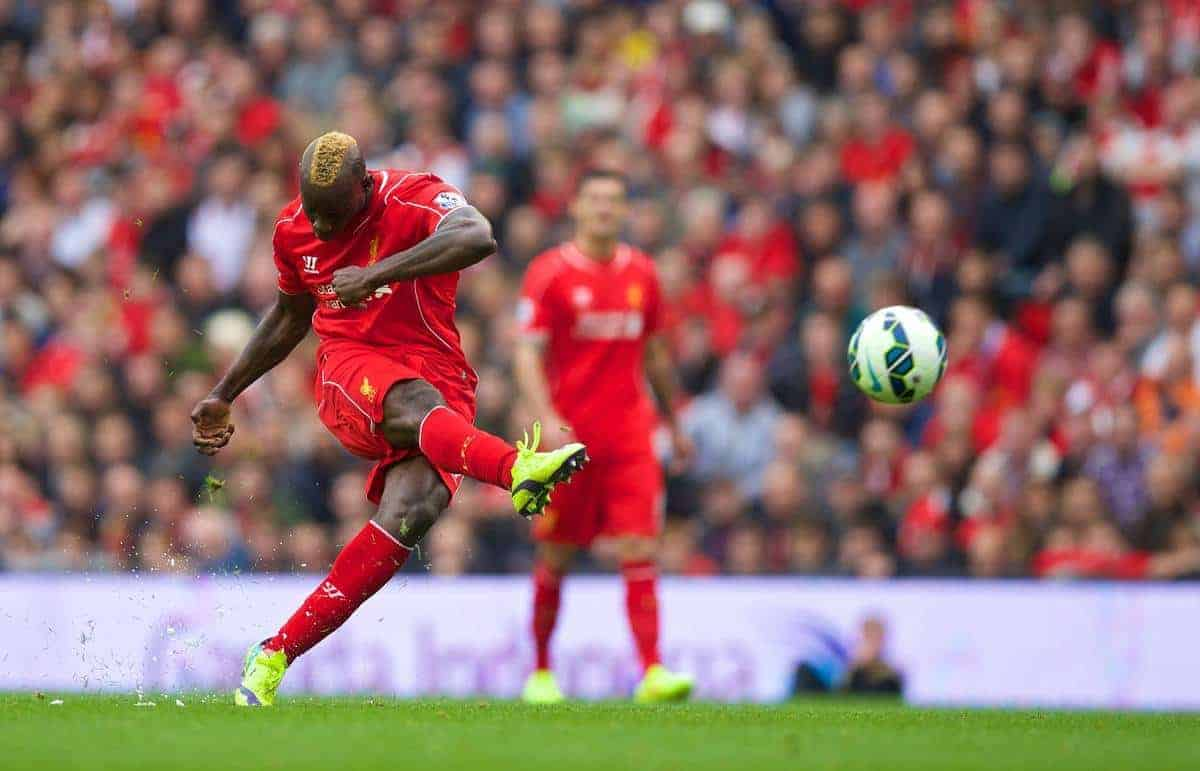 LIVERPOOL, ENGLAND - Friday, September 26, 2014: Liverpool's Mario Balotelli in action against Everton during the Premier League match at Anfield. (Pic by David Rawcliffe/Propaganda)