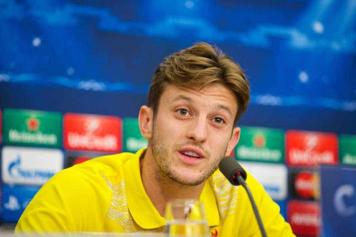 BASEL, SWITZERLAND - Tuesday, September 30, 2014: Liverpool's Adam Lallana during a press conference at the St. Jakob Stadium ahead of the UEFA Champions League Group B match. (Pic by David Rawcliffe/Propaganda)