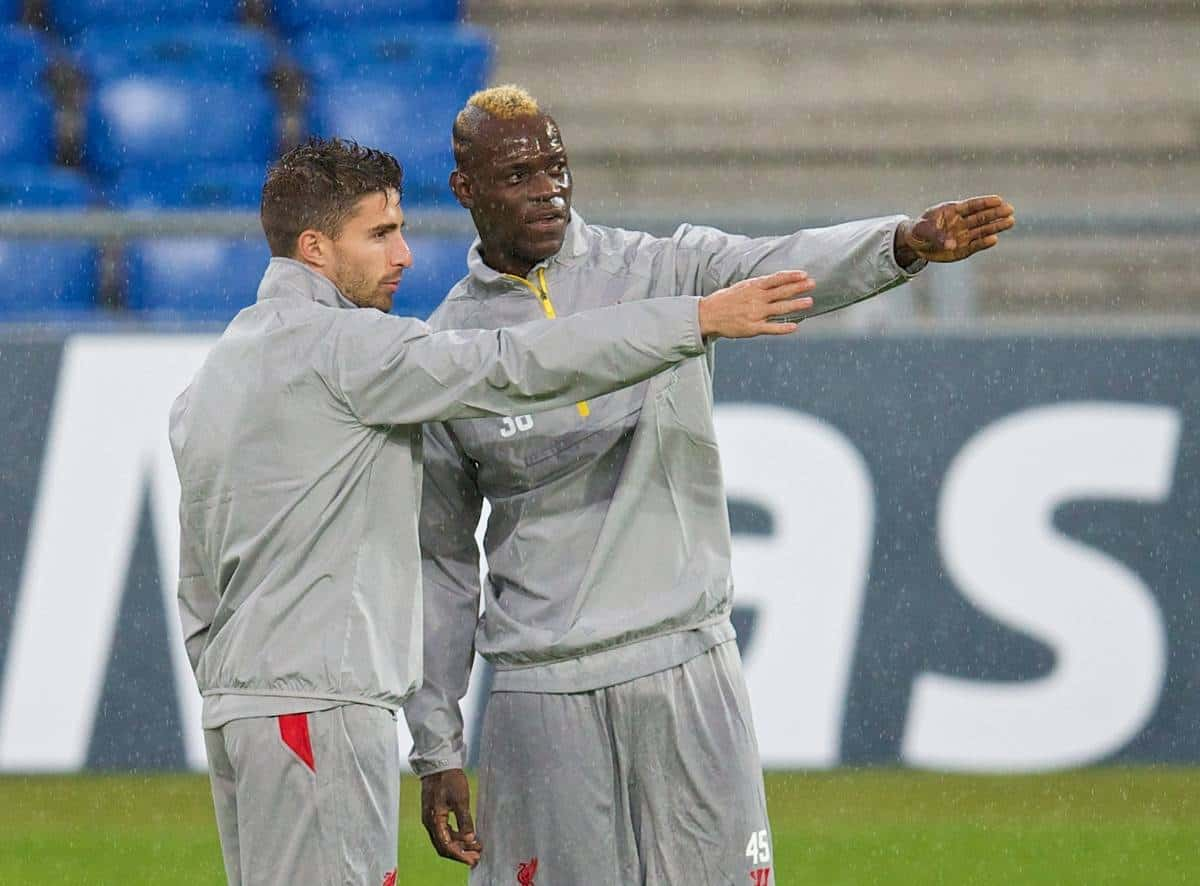 BASEL, SWITZERLAND - Tuesday, September 30, 2014: Liverpool's Mario Balotelli and Fabio Borini during a training session at the St. Jakob Stadium ahead of the UEFA Champions League Group B match against FC Basel. (Pic by David Rawcliffe/Propaganda)