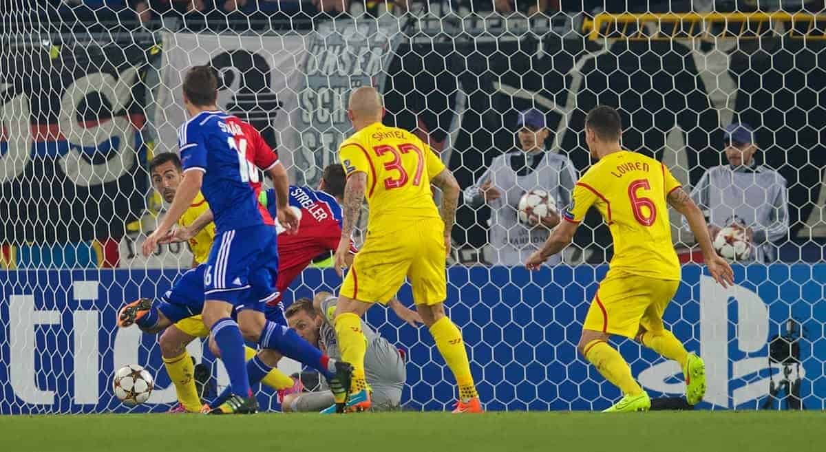 BASEL, SWITZERLAND - Wednesday, October 1, 2014: FC Basel's Marco Streller scores the first goal against Liverpool during the UEFA Champions League Group B match at the St. Jakob-Park Stadium. (Pic by David Rawcliffe/Propaganda)