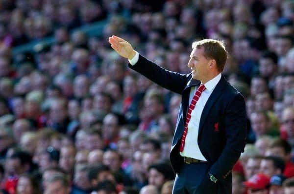 LIVERPOOL, ENGLAND - Saturday, October 4, 2014: Liverpool's manager Brendan Rodgers against West Bromwich Albion during the Premier League match at Anfield. (Pic by David Rawcliffe/Propaganda)