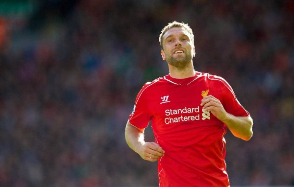 LIVERPOOL, ENGLAND - Saturday, October 4, 2014: Liverpool's Rickie Lambert in action against West Bromwich Albion during the Premier League match at Anfield. (Pic by David Rawcliffe/Propaganda)