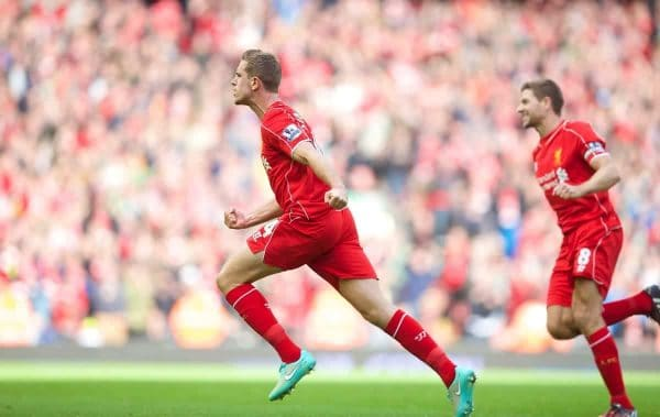 LIVERPOOL, ENGLAND - Saturday, October 4, 2014: Liverpool's Jordan Henderson celebrates scoring the second goal against West Bromwich Albion during the Premier League match at Anfield. (Pic by David Rawcliffe/Propaganda)
