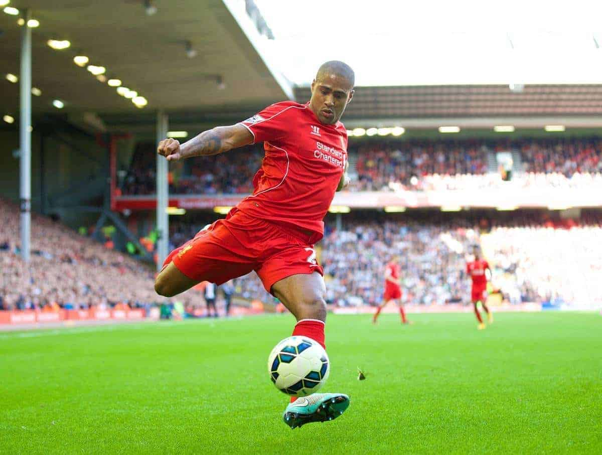 LIVERPOOL, ENGLAND - Saturday, October 4, 2014: Liverpool's Glen Johnson in action against West Bromwich Albion during the Premier League match at Anfield. (Pic by David Rawcliffe/Propaganda)