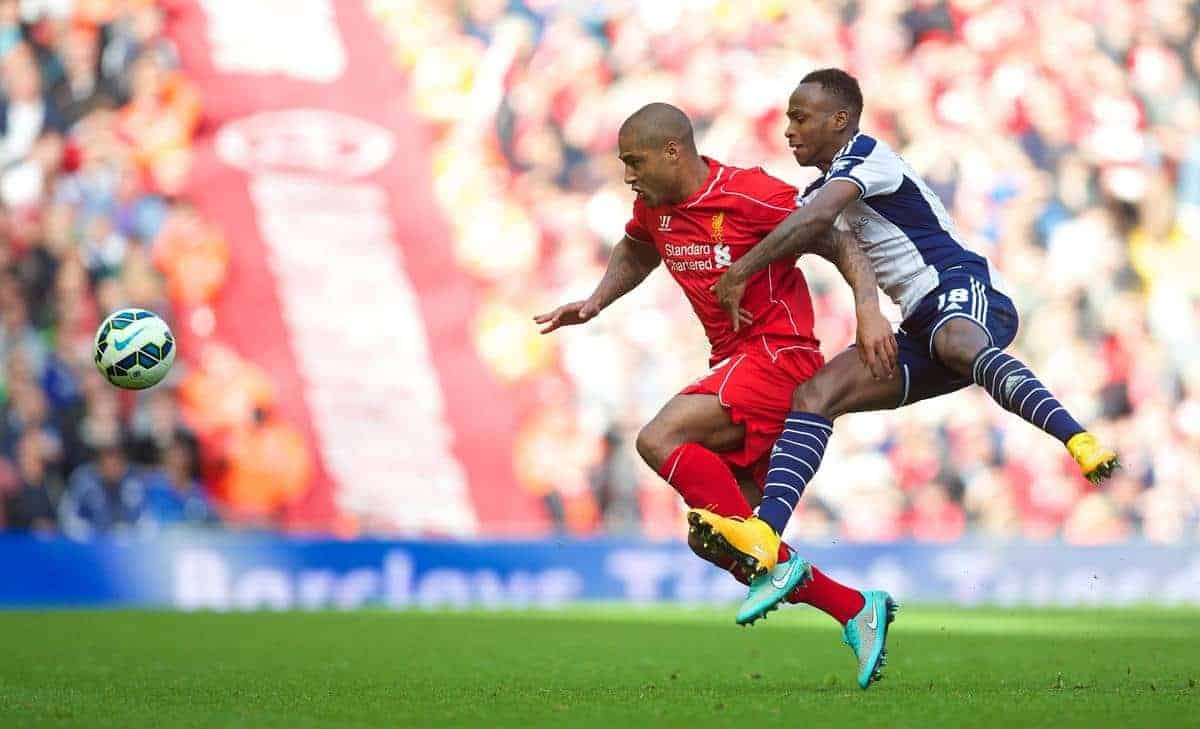 Saido `Berahino LIVERPOOL, ENGLAND - Saturday, October 4, 2014: Liverpool's Glen Johnson in action against West Bromwich Albion during the Premier League match at Anfield. (Pic by David Rawcliffe/Propaganda)