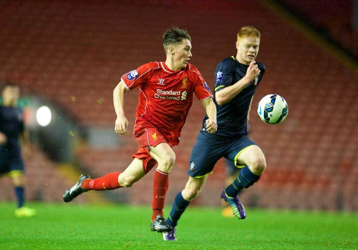 ANFIELD, ENGLAND - Thursday, October 16, 2014: Liverpool's Harry Wilson in action against Southampton's Will Wood during the Under 21 FA Premier League match at Anfield. (Pic by David Rawcliffe/Propaganda)