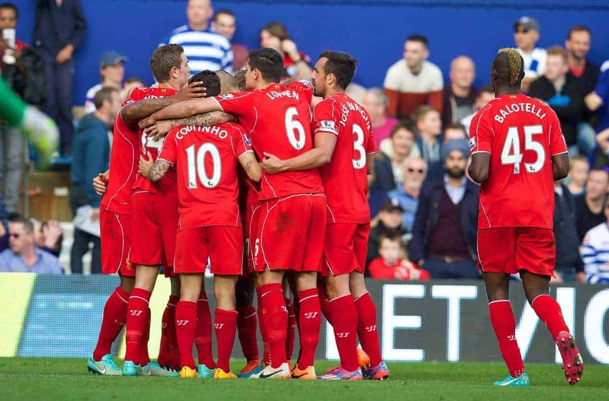LONDON, ENGLAND - Sunday, October 19, 2014: Liverpool players celebrate the first goal against Queens Park Rangers during the Premier League match at Loftus Road. (Pic by David Rawcliffe/Propaganda)
