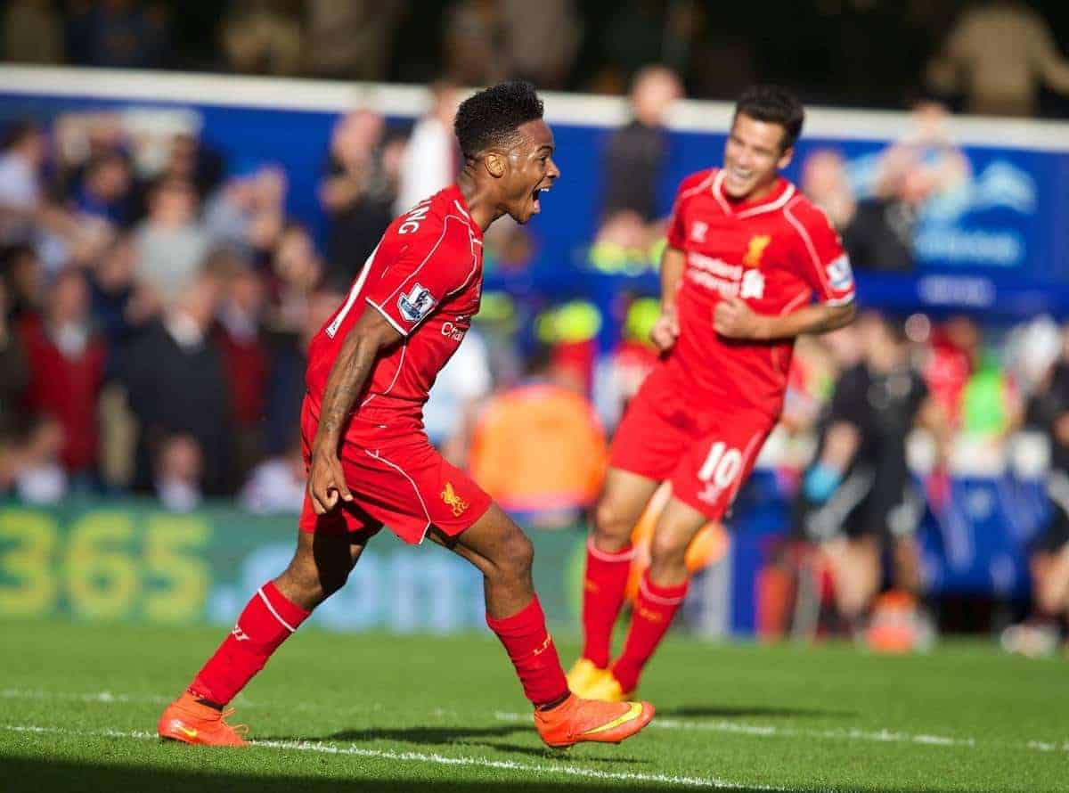 LONDON, ENGLAND - Sunday, October 19, 2014: Liverpool's Raheem Sterling celebrates scoring the third winning goal against Queens Park Rangers during the Premier League match at Loftus Road. (Pic by David Rawcliffe/Propaganda)