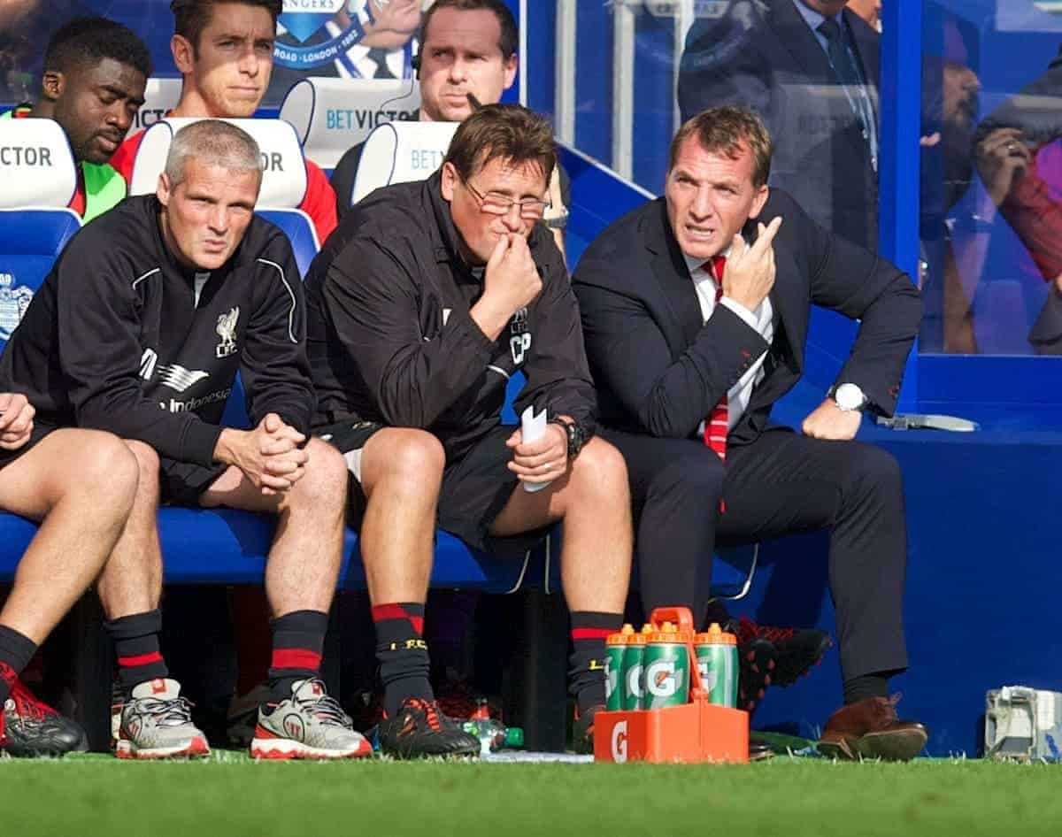 LONDON, ENGLAND - Sunday, October 19, 2014: Liverpool's manager Brendan Rodgers, assistant manager Colin Pascoe and first team coach Mike Marsh on the bench during the Premier League match against Queens Park Rangers at Loftus Road. (Pic by David Rawcliffe/Propaganda)