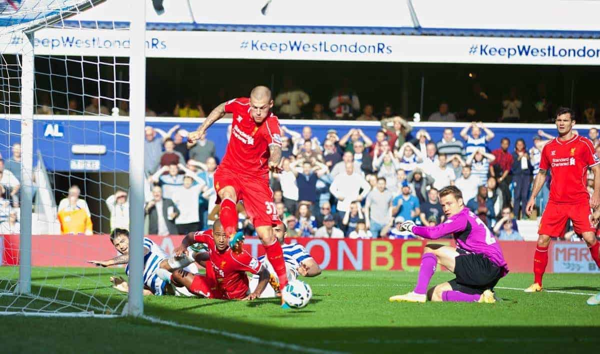LONDON, ENGLAND - Sunday, October 19, 2014: Liverpool's Martin Skrtel clears the ball off the line against Queens Park Rangers during the Premier League match at Loftus Road. (Pic by David Rawcliffe/Propaganda)