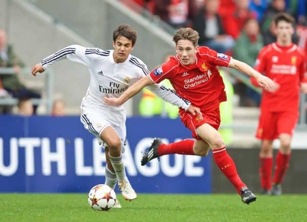 LIVERPOOL, ENGLAND - Wednesday, October 22, 2014: Liverpool's Harry Wilson in action against Real Madrid CF's Sergio Reguilon during the UEFA Youth League Group B match at Langtree Park. (Pic by David Rawcliffe/Propaganda)