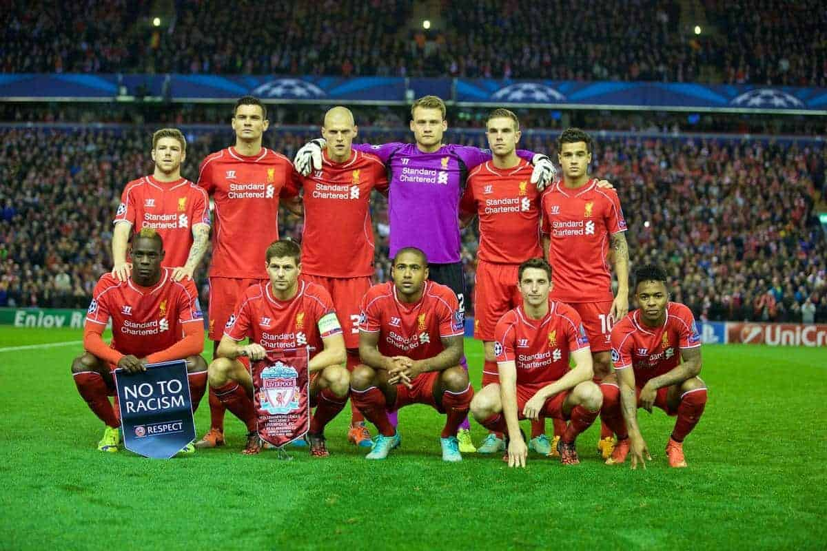 LIVERPOOL, ENGLAND - Wednesday, October 22, 2014: Liverpool's players line up for a team group photograph before the UEFA Champions League Group B match against Real Madrid CF at Anfield. Back row L-R: Alberto Moreno, Dejan Lovren, Martin Skrtel, goalkeeper Simon Mignolet, Jordan Henderson, Philippe Coutinho Correia. Front row L-R: Mario Balotelli, captain Steven Gerrard, Glen Johnson, Joe Allen, Raheem Sterling (Pic by David Rawcliffe/Propaganda)