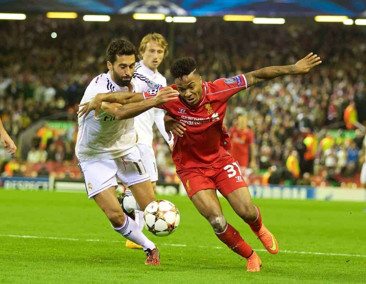 LIVERPOOL, ENGLAND - Wednesday, October 22, 2014: Liverpool's Raheem Sterling in action against Real Madrid CF's Alvaro Arbeloa during the UEFA Champions League Group B match at Anfield. (Pic by David Rawcliffe/Propaganda)