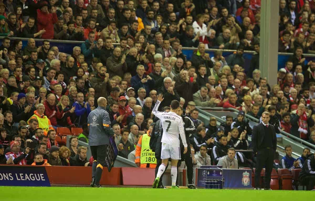 LIVERPOOL, ENGLAND - Wednesday, October 22, 2014: Real Madrid CF's Cristiano Ronaldo is applauded off the pitch by Liverpool supporters during the UEFA Champions League Group B match at Anfield. (Pic by David Rawcliffe/Propaganda)