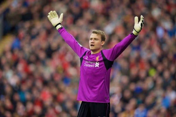 LIVERPOOL, ENGLAND - Saturday, October 25, 2014: Liverpool's goalkeeper Simon Mignolet in action against Hull City during the Premier League match at Anfield. (Pic by David Rawcliffe/Propaganda)