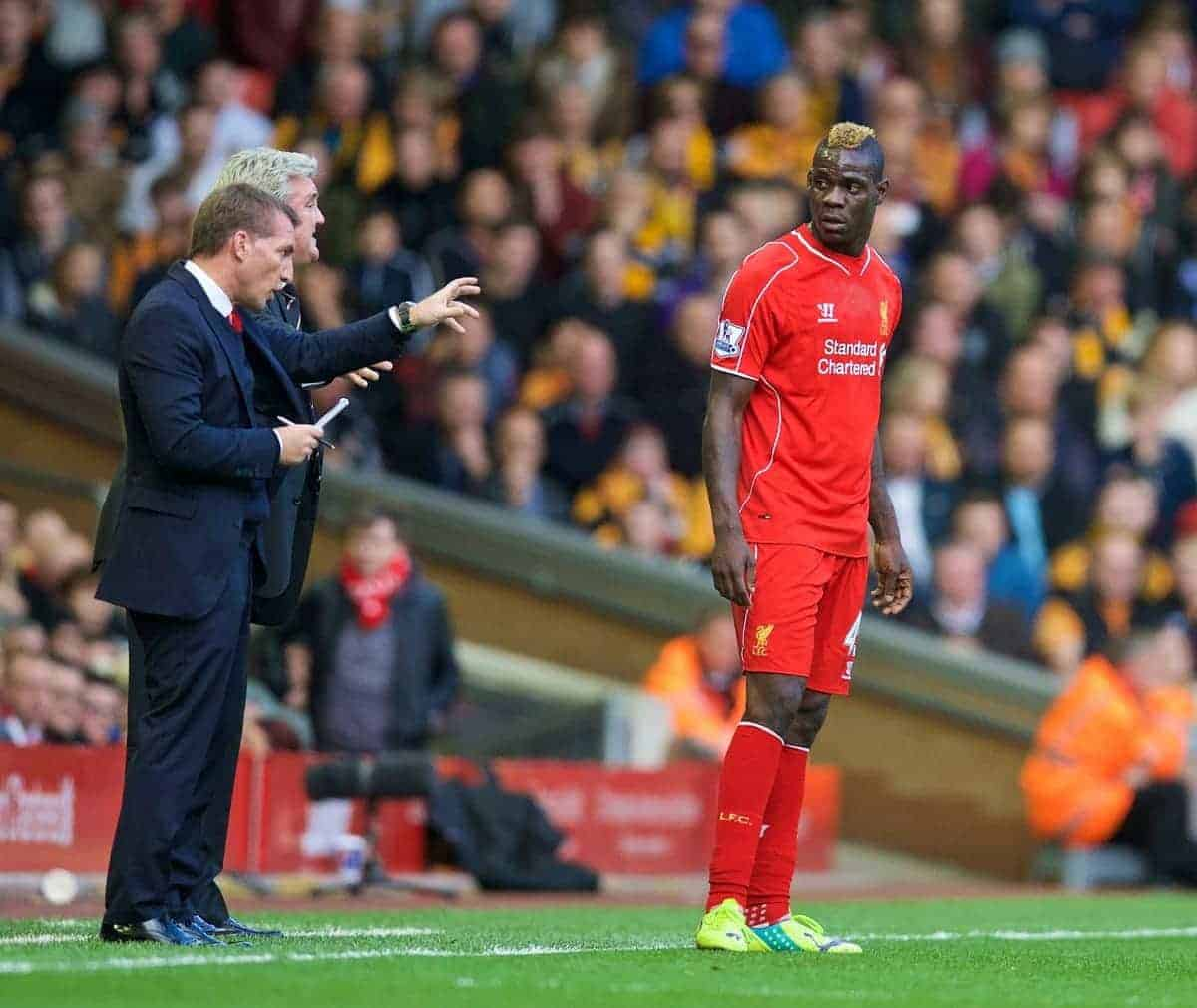 LIVERPOOL, ENGLAND - Saturday, October 25, 2014: Liverpool's manager Brendan Rodgers and Mario Balotelli against Hull City during the Premier League match at Anfield. (Pic by David Rawcliffe/Propaganda)