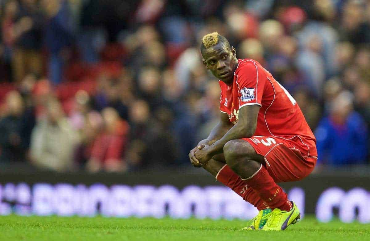 LIVERPOOL, ENGLAND - Saturday, October 25, 2014: Liverpool's Mario Balotelli looks dejected as his side draw 0-0 with Hull City during the Premier League match at Anfield. (Pic by David Rawcliffe/Propaganda)