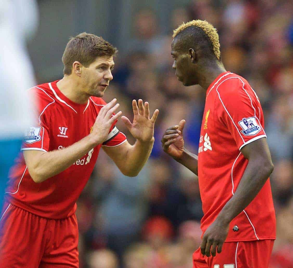 LIVERPOOL, ENGLAND - Saturday, October 25, 2014: Liverpool's captain Steven Gerrard and Mario Balotelli during the Premier League match against Hull City at Anfield. (Pic by David Rawcliffe/Propaganda)