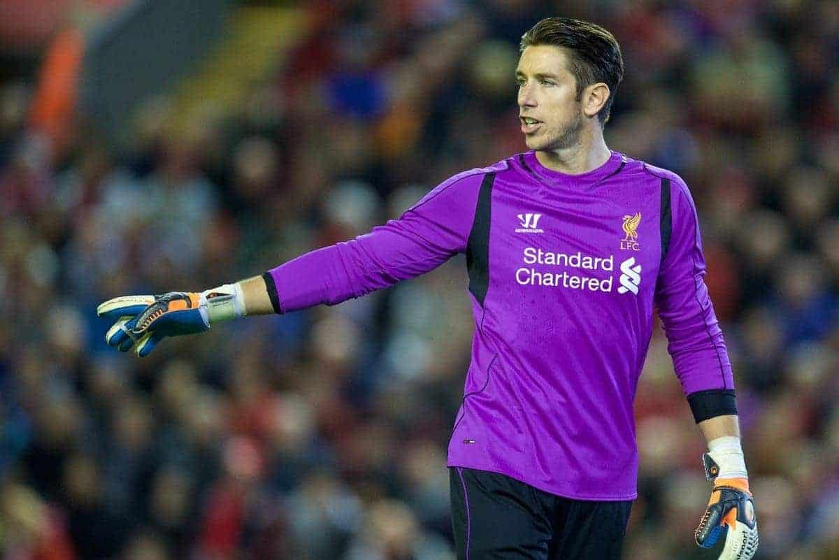 LIVERPOOL, ENGLAND - Tuesday, October 28, 2014: Liverpool's goalkeeper Brad Jones in action against Swansea City during the Football League Cup 4th Round match at Anfield. (Pic by David Rawcliffe/Propaganda)