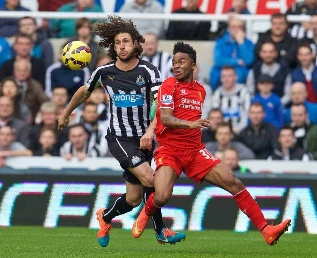 NEWCASTLE-UPON-TYNE, ENGLAND - Saturday, November 1, 2014: Liverpool's Raheem Sterling in action against Newcastle United's captain Fabricio Coloccini during the Premier League match at St. James' Park. (Pic by David Rawcliffe/Propaganda)