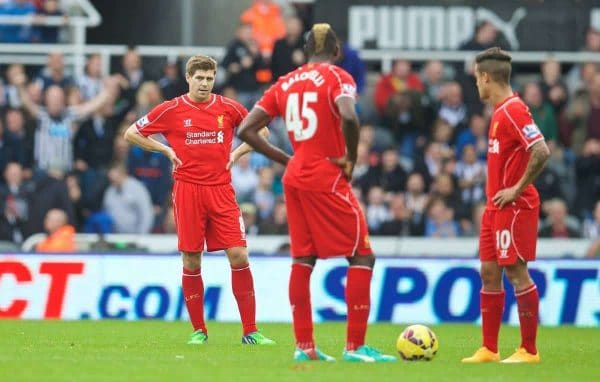 NEWCASTLE-UPON-TYNE, ENGLAND - Saturday, November 1, 2014: Liverpool's captain Steven Gerrard looks dejected as Newcastle United score the opening goal during the Premier League match at St. James' Park. (Pic by David Rawcliffe/Propaganda)