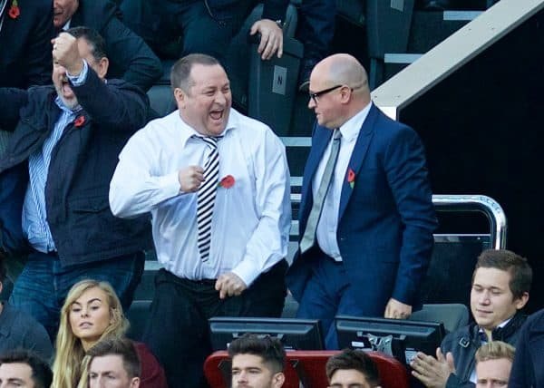 NEWCASTLE-UPON-TYNE, ENGLAND - Saturday, November 1, 2014: Newcastle United's owner Mike Ashley celebrates after his side beat a lacklustre Liverpool 1-0 during the Premier League match at St. James' Park. (Pic by David Rawcliffe/Propaganda)
