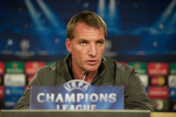 Liverpool's manager Brendan Rodgers during a press conference at the Estadio Santiago Bernabeu ahead of the UEFA Champions League Group B match against Real Madrid CF. (Pic by David Rawcliffe/Propaganda)