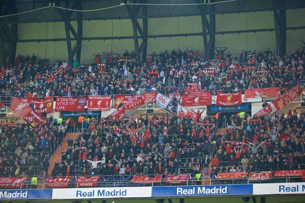 MADRID, SPAIN - Tuesday, November 4, 2014: Liverpool supporters before the UEFA Champions League Group B match against Real Madrid CF at the Estadio Santiago Bernabeu. (Pic by David Rawcliffe/Propaganda)