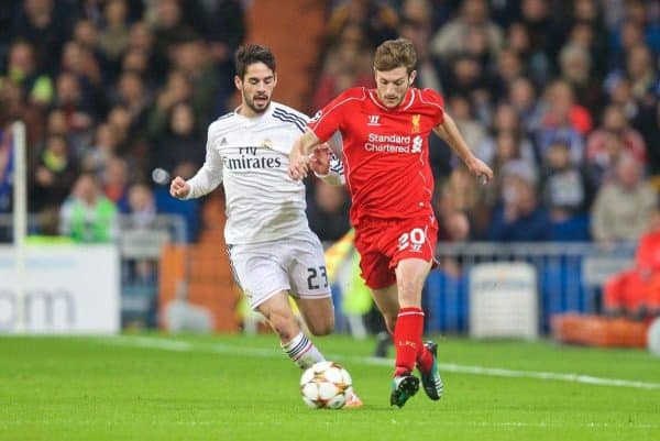 MADRID, SPAIN - Tuesday, November 4, 2014: Liverpool's Adam Lallana in action against Real Madrid CF during the UEFA Champions League Group B match at the Estadio Santiago Bernabeu. (Pic by David Rawcliffe/Propaganda)