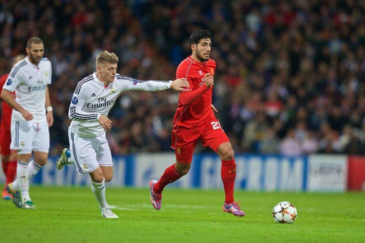 MADRID, SPAIN - Tuesday, November 4, 2014: Liverpool's Emre Can in action against Real Madrid CF during the UEFA Champions League Group B match at the Estadio Santiago Bernabeu. (Pic by David Rawcliffe/Propaganda)