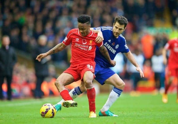 LIVERPOOL, ENGLAND - Saturday, November 8, 2014: Liverpool's Raheem Sterling in action against Chelsea's Cesc Fabregas during the Premier League match at Anfield. (Pic by David Rawcliffe/Propaganda)
