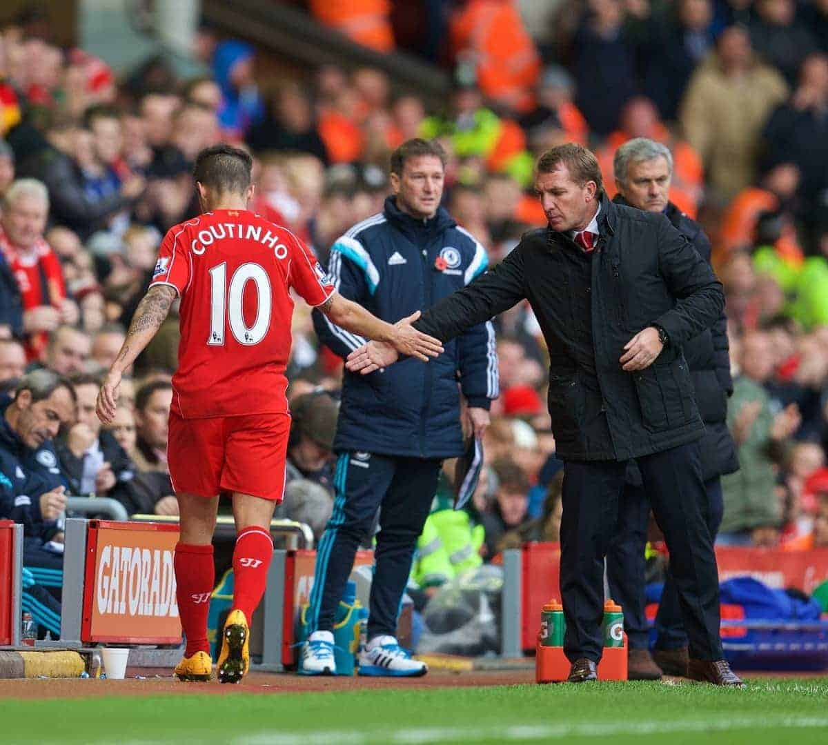 LIVERPOOL, ENGLAND - Saturday, November 8, 2014: Liverpool's Philippe Coutinho Correia is substituted by manager Brendan Rodgers during the Premier League match against Chelsea at Anfield. (Pic by David Rawcliffe/Propaganda)