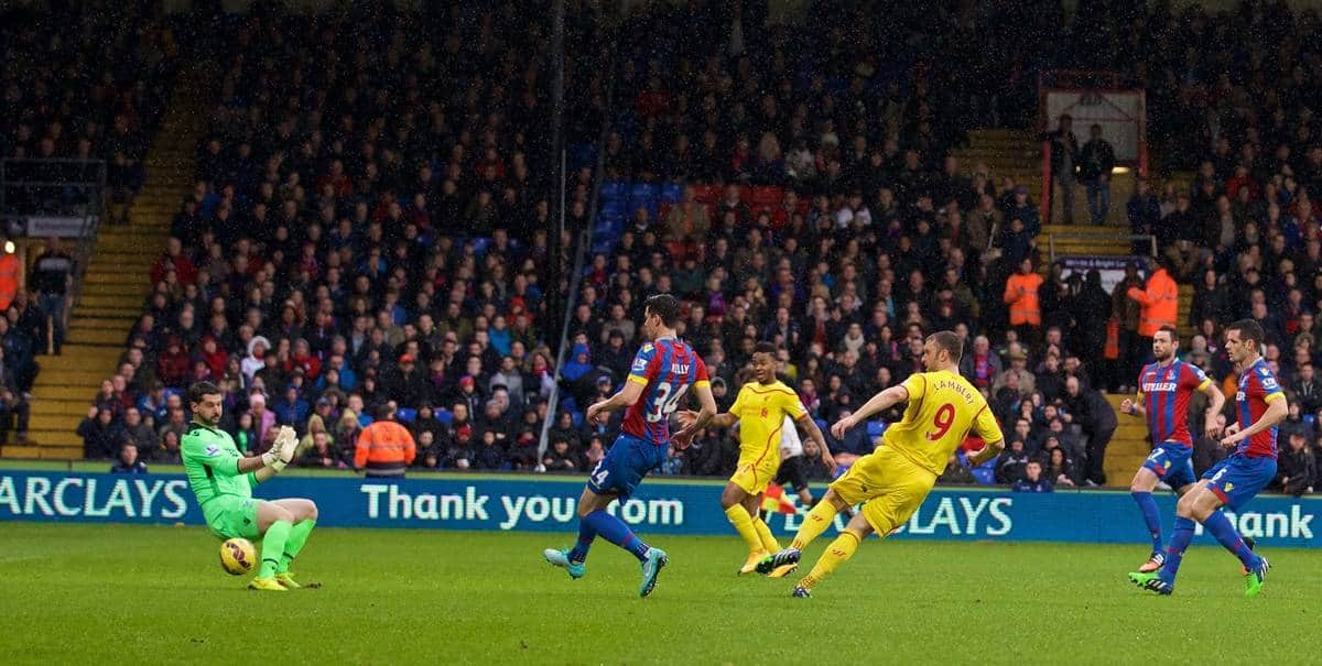 LONDON, ENGLAND - Sunday, November 23, 2014: Liverpool's Rickie Lambert scores the first goal against Crystal Palace during the Premier League match at Selhurst Park. (Pic by David Rawcliffe/Propaganda)