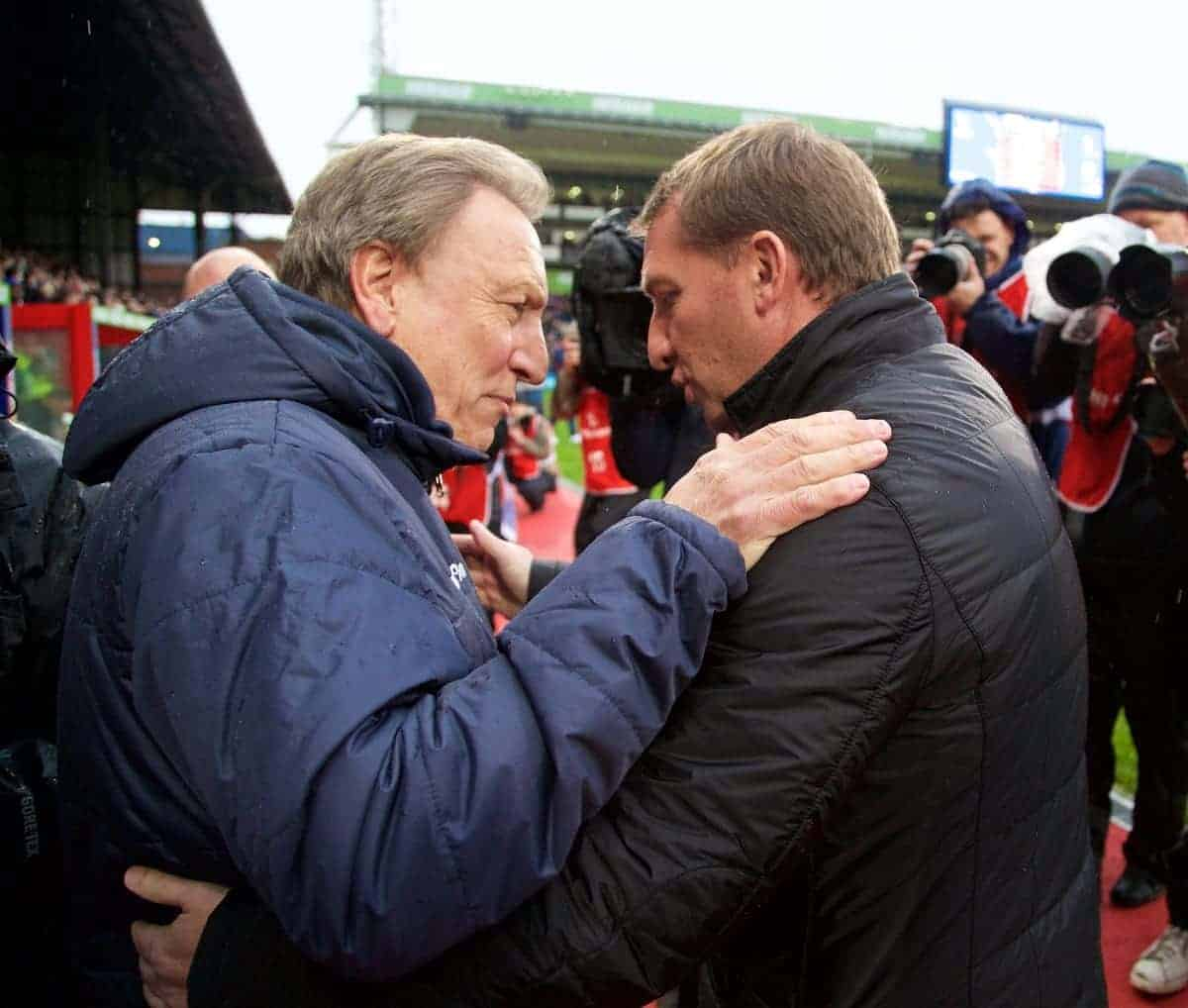 LONDON, ENGLAND - Sunday, November 23, 2014: Liverpool's manager Brendan Rodgers and Crystal Palace's manager Neil Warnock before the Premier League match at Selhurst Park. (Pic by David Rawcliffe/Propaganda)