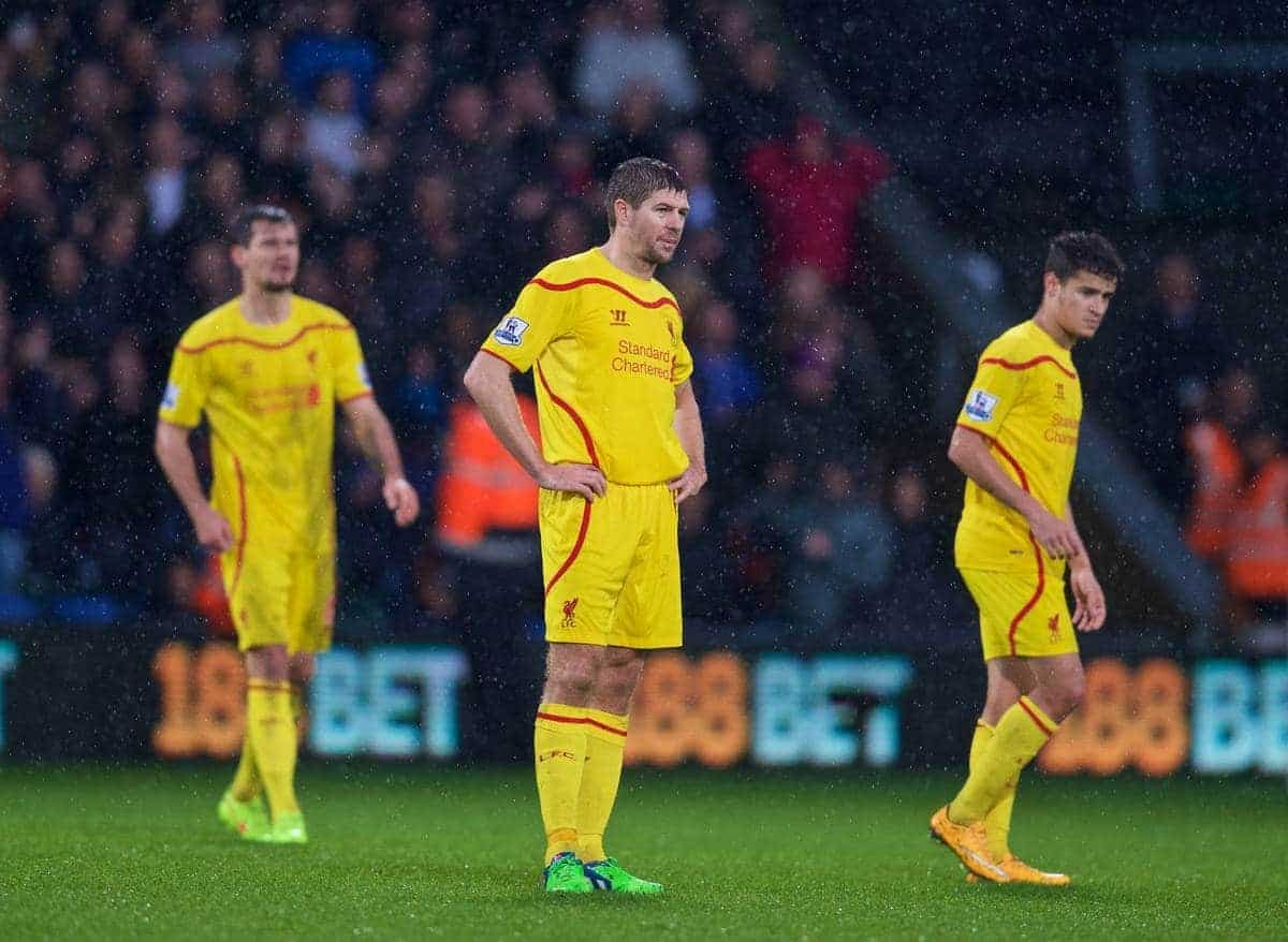 LONDON, ENGLAND - Sunday, November 23, 2014: Liverpool's captain Steven Gerrard looks dejected as Crystal Palace score the third goal during the Premier League match at Selhurst Park. (Pic by David Rawcliffe/Propaganda)