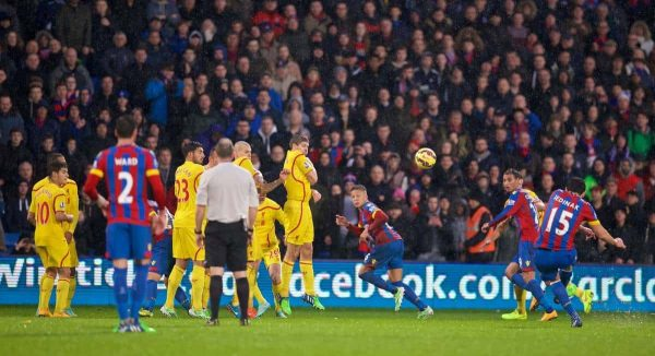 LONDON, ENGLAND - Sunday, November 23, 2014: Crystal Palace's captain Mile Jedinak scores the third goal against Liverpool during the Premier League match at Selhurst Park. (Pic by David Rawcliffe/Propaganda)