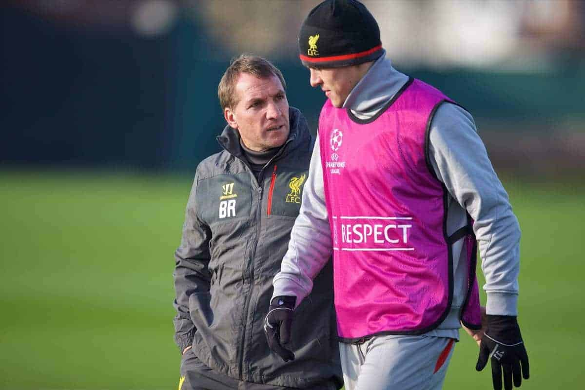 LIVERPOOL, ENGLAND - Tuesday, November 4, 2014: Liverpool's manager Brendan Rodgers and Martin Skrtel during a training session at Melwood Training Grounds ahead of the UEFA Champions League Group B match against PFC Ludogorets Razgrad. (Pic by David Rawcliffe/Propaganda)