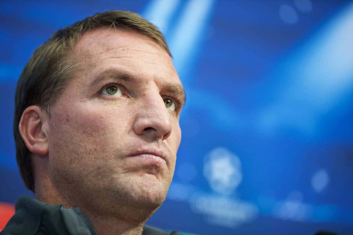 SOFIA, BULGARIA - Tuesday, November 25, 2014: Liverpool's manager Brendan Rodgers during a press conference ahead of the UEFA Champions League Group B match against PFC Ludogorets Razgrad at the Vasil Levski National Stadium (Pic by David Rawcliffe/Propaganda)