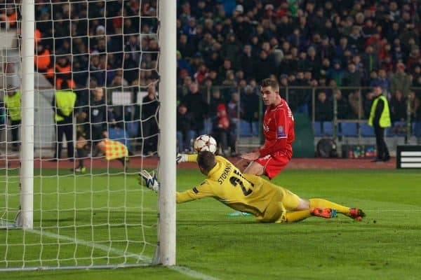 SOFIA, BULGARIA - Wednesday, November 26, 2014: Liverpool's Jordan Henderson scores the second goal against PFC Ludogorets Razgrad during the UEFA Champions League Group B match at the Vasil Levski National Stadium (Pic by David Rawcliffe/Propaganda)