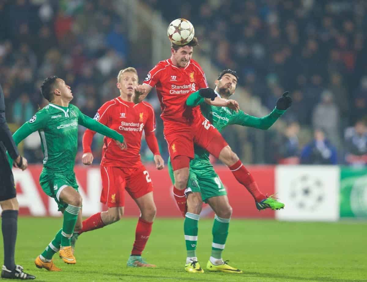 SOFIA, BULGARIA - Wednesday, November 26, 2014: Liverpool's Joe Allen in action against PFC Ludogorets Razgrad during the UEFA Champions League Group B match at the Vasil Levski National Stadium. (Pic by David Rawcliffe/Propaganda)
