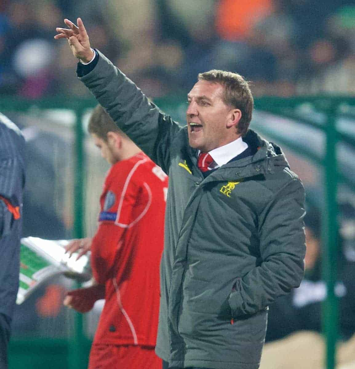 SOFIA, BULGARIA - Wednesday, November 26, 2014: Liverpool's manager Brendan Rodgers during the UEFA Champions League Group B match against PFC Ludogorets Razgrad at the Vasil Levski National Stadium. (Pic by David Rawcliffe/Propaganda)