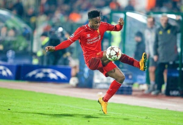 SOFIA, BULGARIA - Wednesday, November 26, 2014: Liverpool's Raheem Sterling in action against PFC Ludogorets Razgrad during the UEFA Champions League Group B match at the Vasil Levski National Stadium. (Pic by David Rawcliffe/Propaganda)