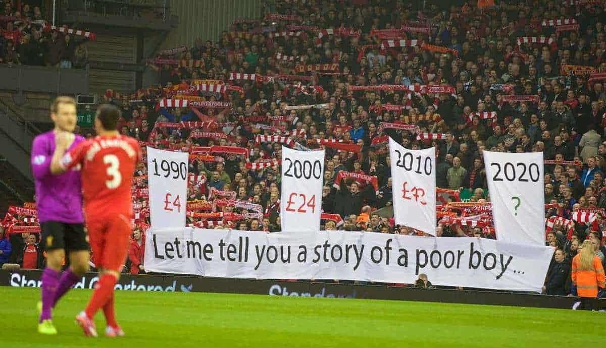 LIVERPOOL, ENGLAND - Saturday, November 29, 2014: Liverpool fans' protest against ticket prices 'Let Me Tell You A Story Of A Poor Boy' during the Premier League match against Stoke City at Anfield. (Pic by David Rawcliffe/Propaganda)