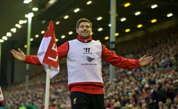 LIVERPOOL, ENGLAND - Saturday, November 29, 2014: Liverpool's substitute captain Steven Gerrard during the Premier League match against Stoke City at Anfield. (Pic by David Rawcliffe/Propaganda)