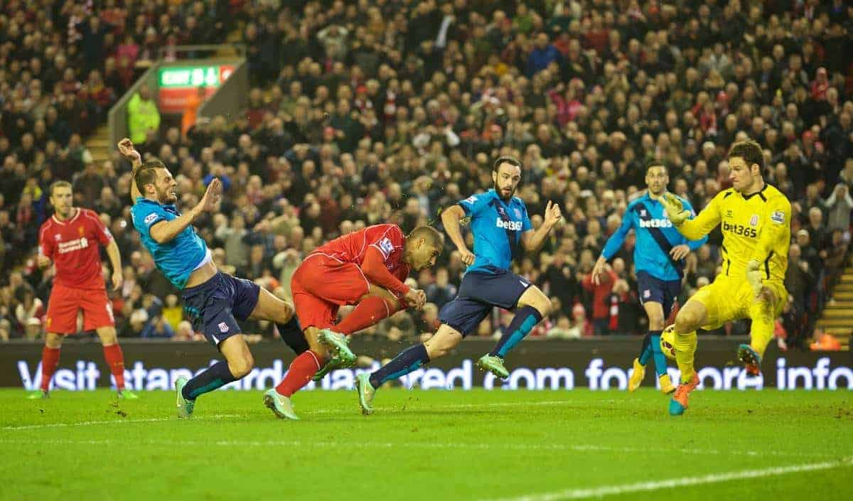 LIVERPOOL, ENGLAND - Saturday, November 29, 2014: Liverpool's Glen Johnson scores the first goal against Stoke City during the Premier League match at Anfield. (Pic by David Rawcliffe/Propaganda)