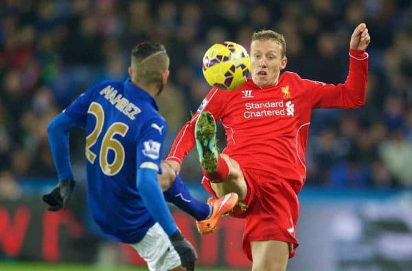 Liverpool's Lucas Leiva in action against Leicester City's Riyad Mahrez during the Premier League match at Filbert Way. (Pic by David Rawcliffe/Propaganda)
